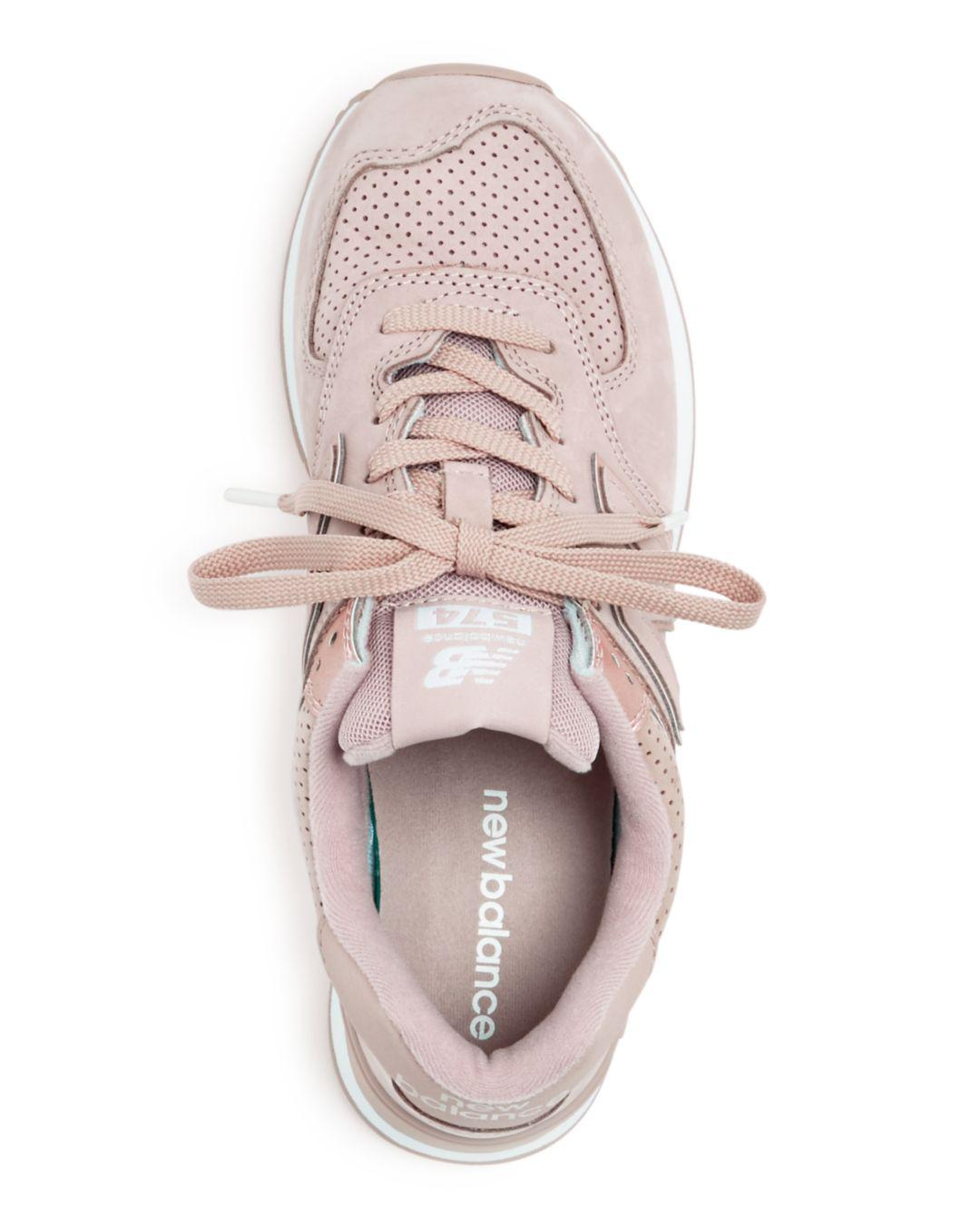 574 Nubuck Leather Lace Up Sneakers