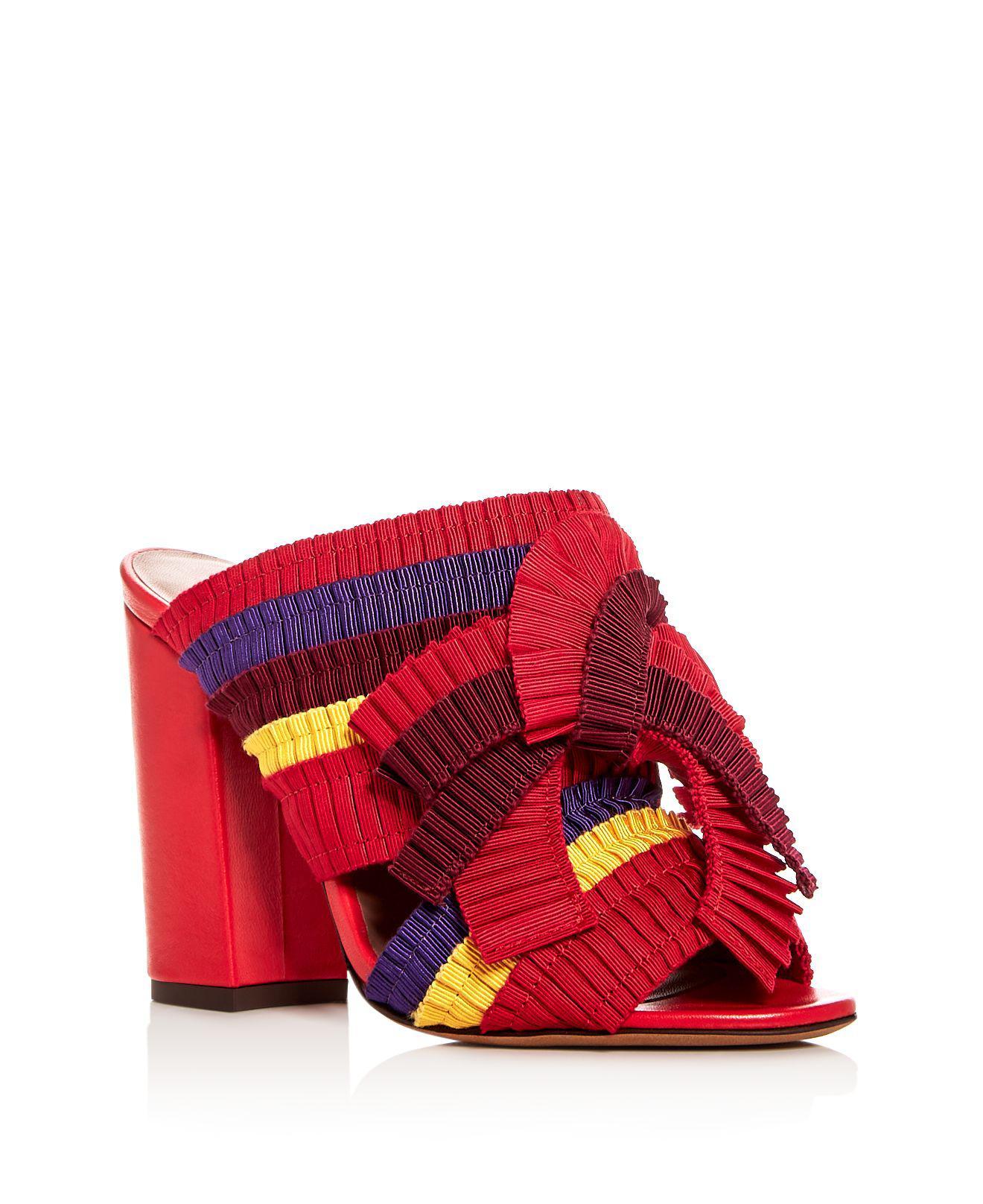 Tabitha Simmons Women's Beau Ribbon High Block Heel Slide Sandals 6iDEu5a6s