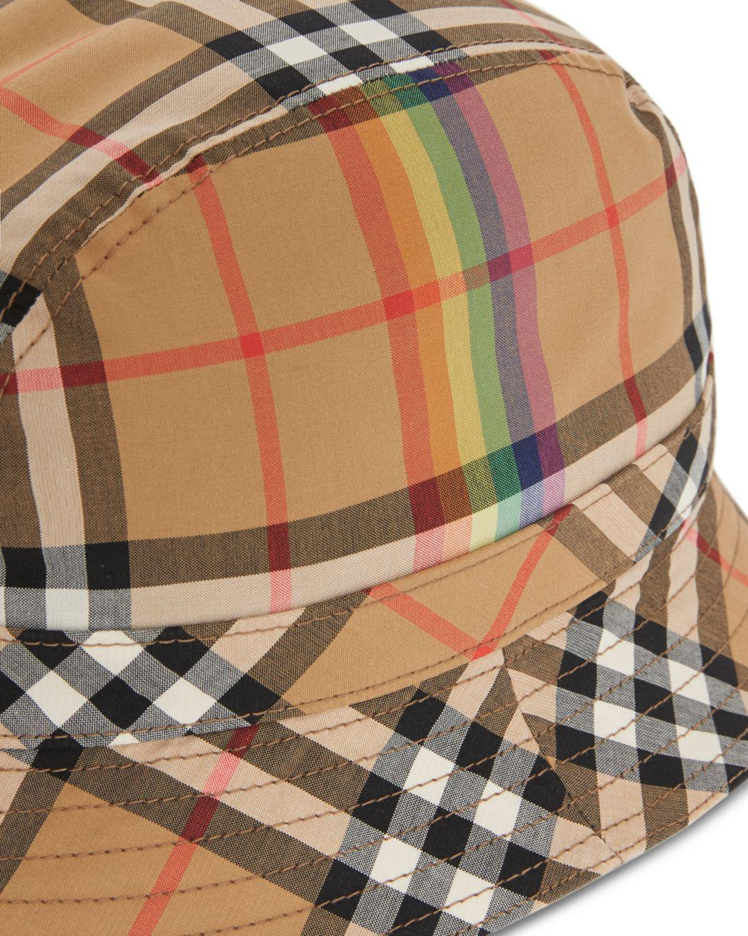 2670946fd20 Lyst - Burberry Rainbow Check Bucket Hat