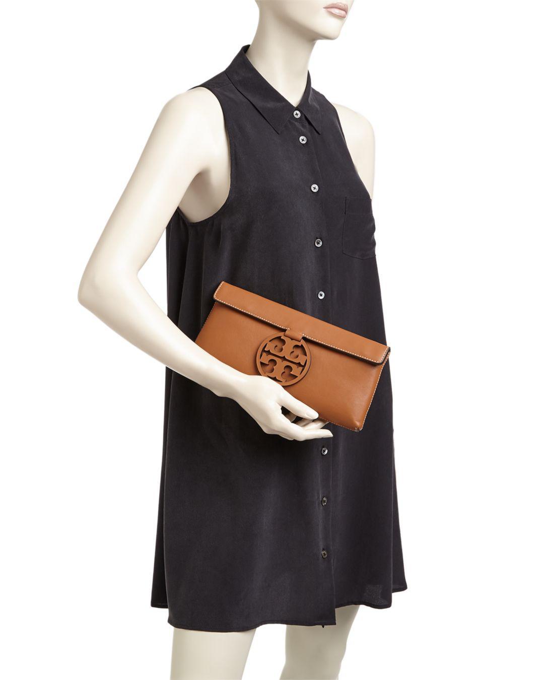 07775d9dd9fc Lyst - Tory Burch Miller Leather Clutch in Black
