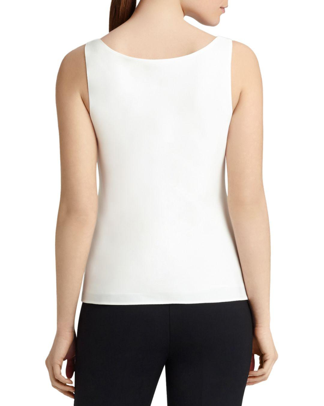 d57a368caa70f Lyst - Lafayette 148 New York Silk Tank in White - Save 16%