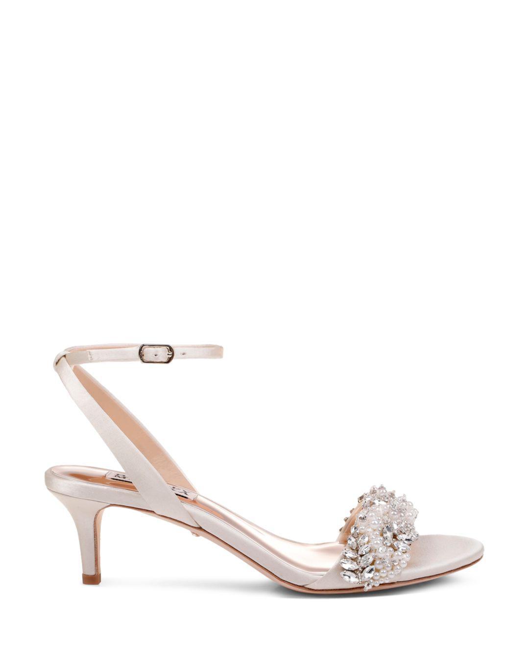 f89dd12a107e Lyst - Badgley Mischka Fiona Embellished Satin Kitten-heel Sandals in White