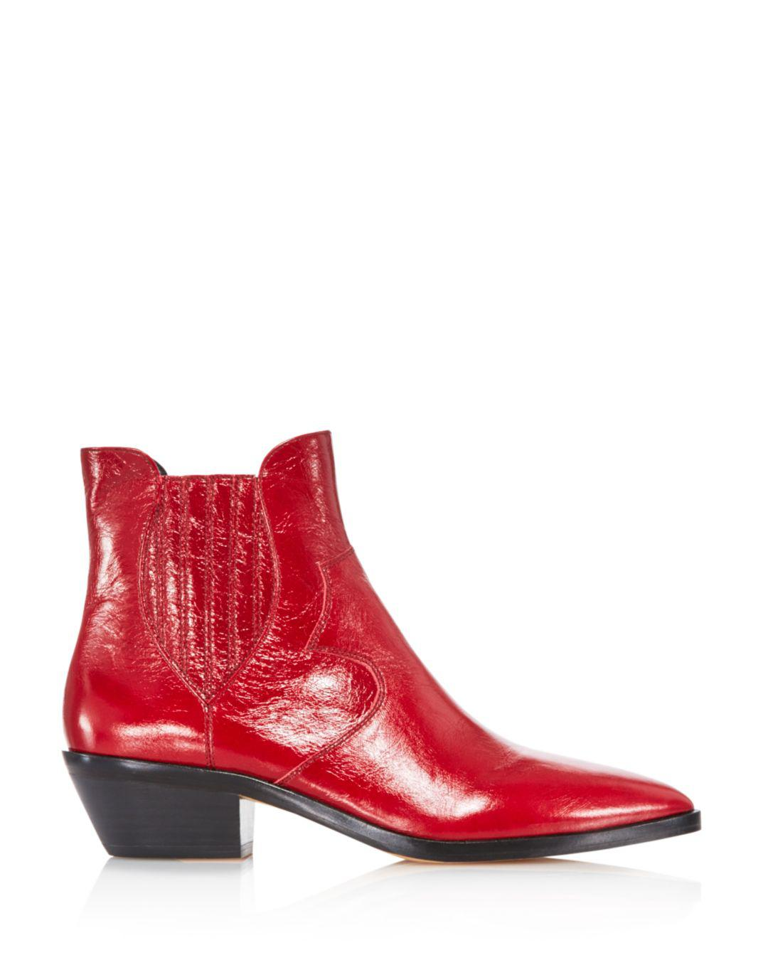 8c4a5db7410 Lyst - Rebecca Minkoff Women s Kaidienne Pointed Toe Leather Low-heel  Booties in Red
