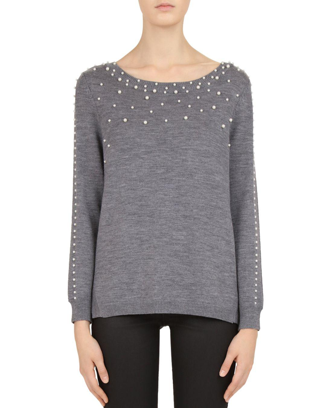 fb5d388c8 Gerard Darel Catherine Embellished Merino-wool Sweater in Gray ...