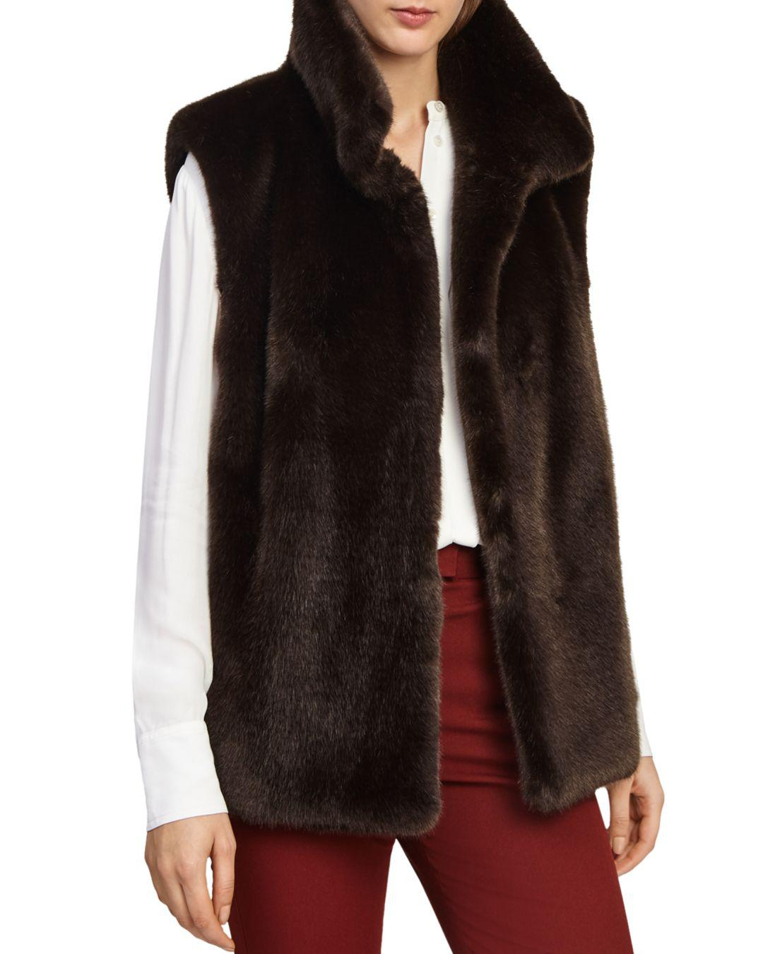 Lyst - Reiss Fay Faux-fur Vest in Brown accf77903436a