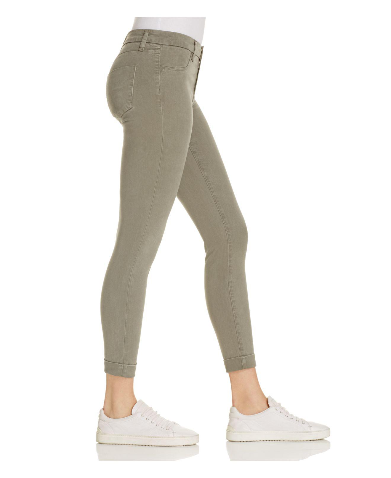 J Brand Denim Luxe Sateen Anja Cuffed Crop Jeans In Castor Grey in Grey