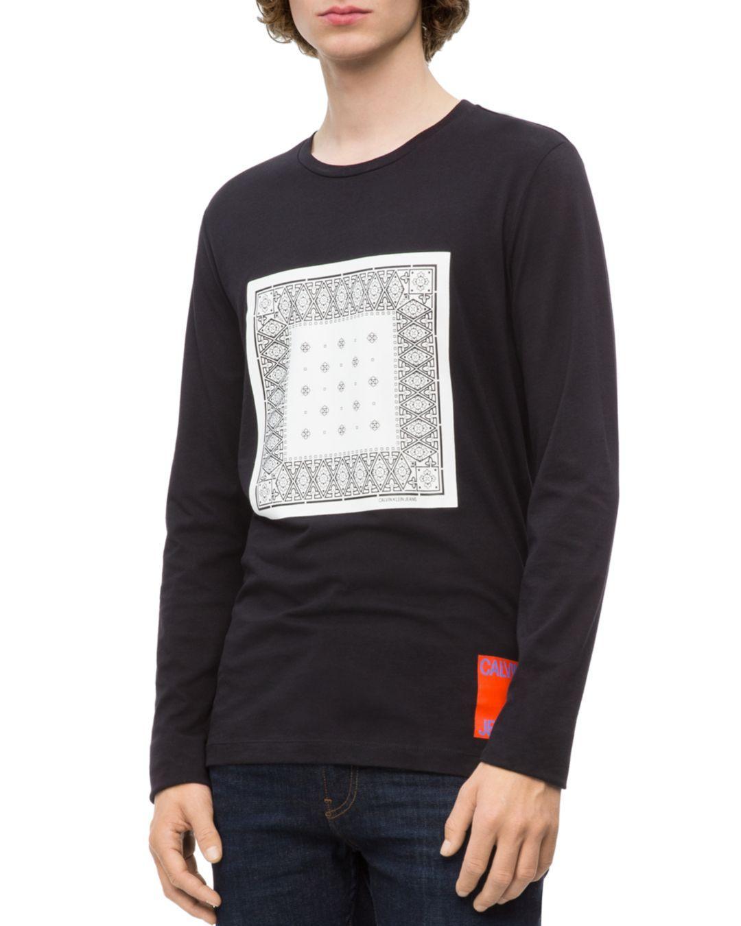 f867188dd9b7 Calvin Klein Long - Sleeve Bandana Graphic Tee in Black for Men - Lyst