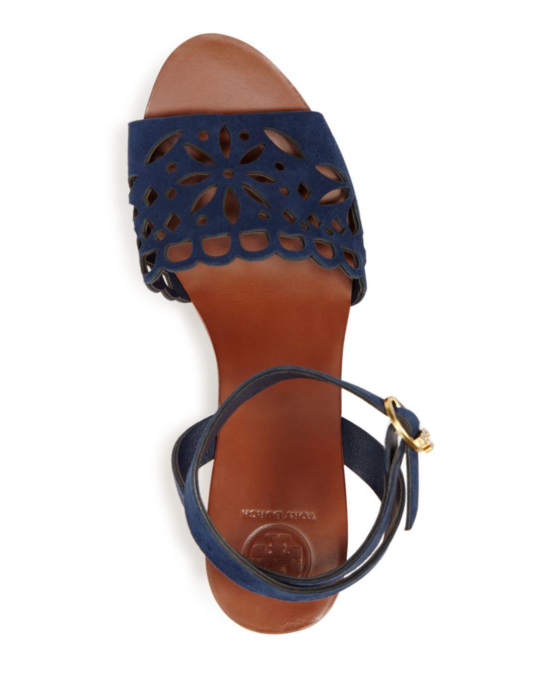 f5fe10d7c794 Lyst - Tory Burch Women s May Suede Platform Block Heel Sandals in Blue