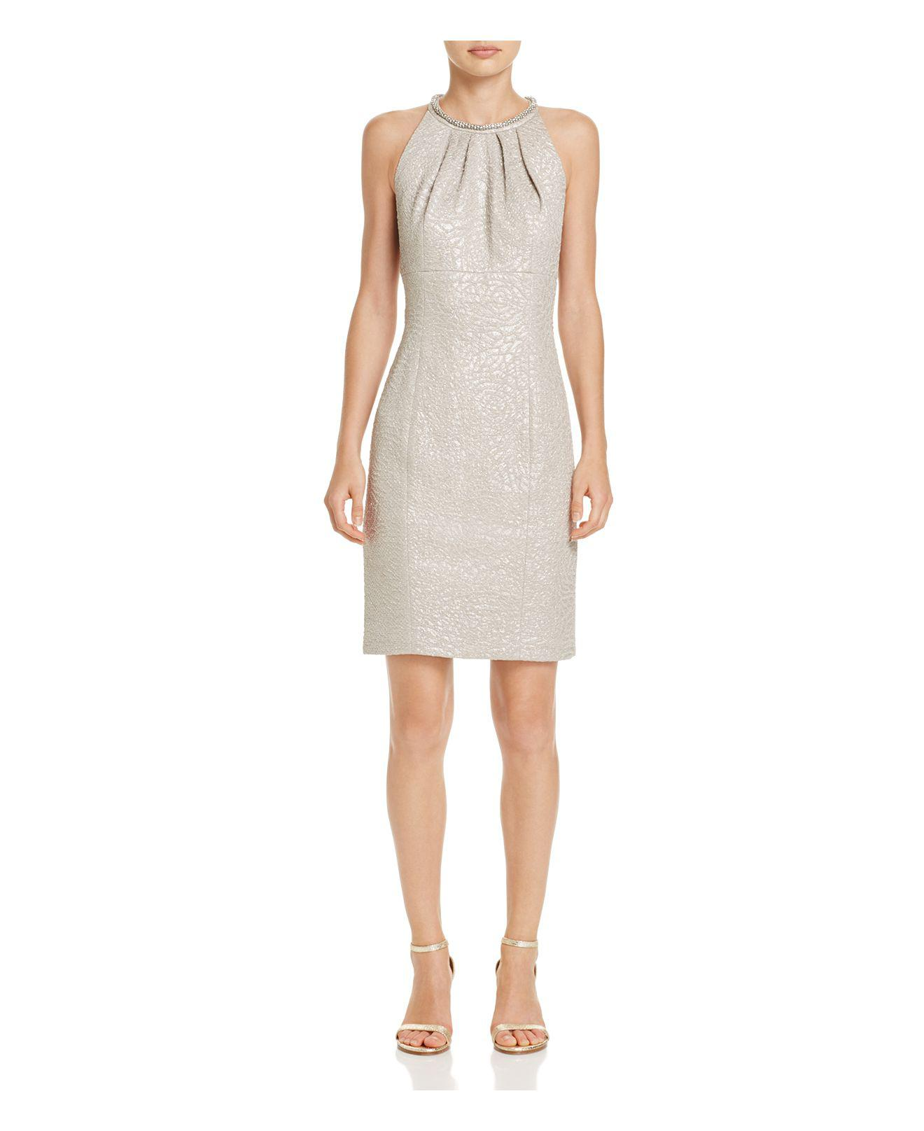 Lyst Eliza J Embellished Neck Textured Dress In Natural