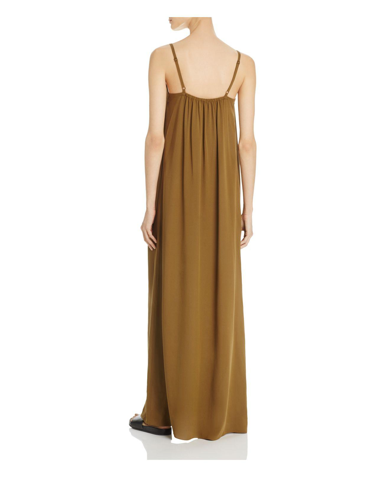 Vince Embroidered Silk Maxi Dress in Olive (Green)