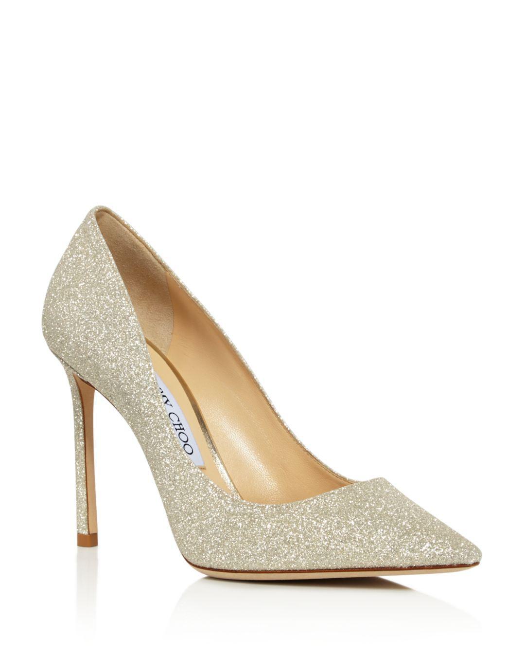 a0b43c9b2398 Lyst - Jimmy Choo Women s Romy 100 Glitter Leather High-heel Pumps ...