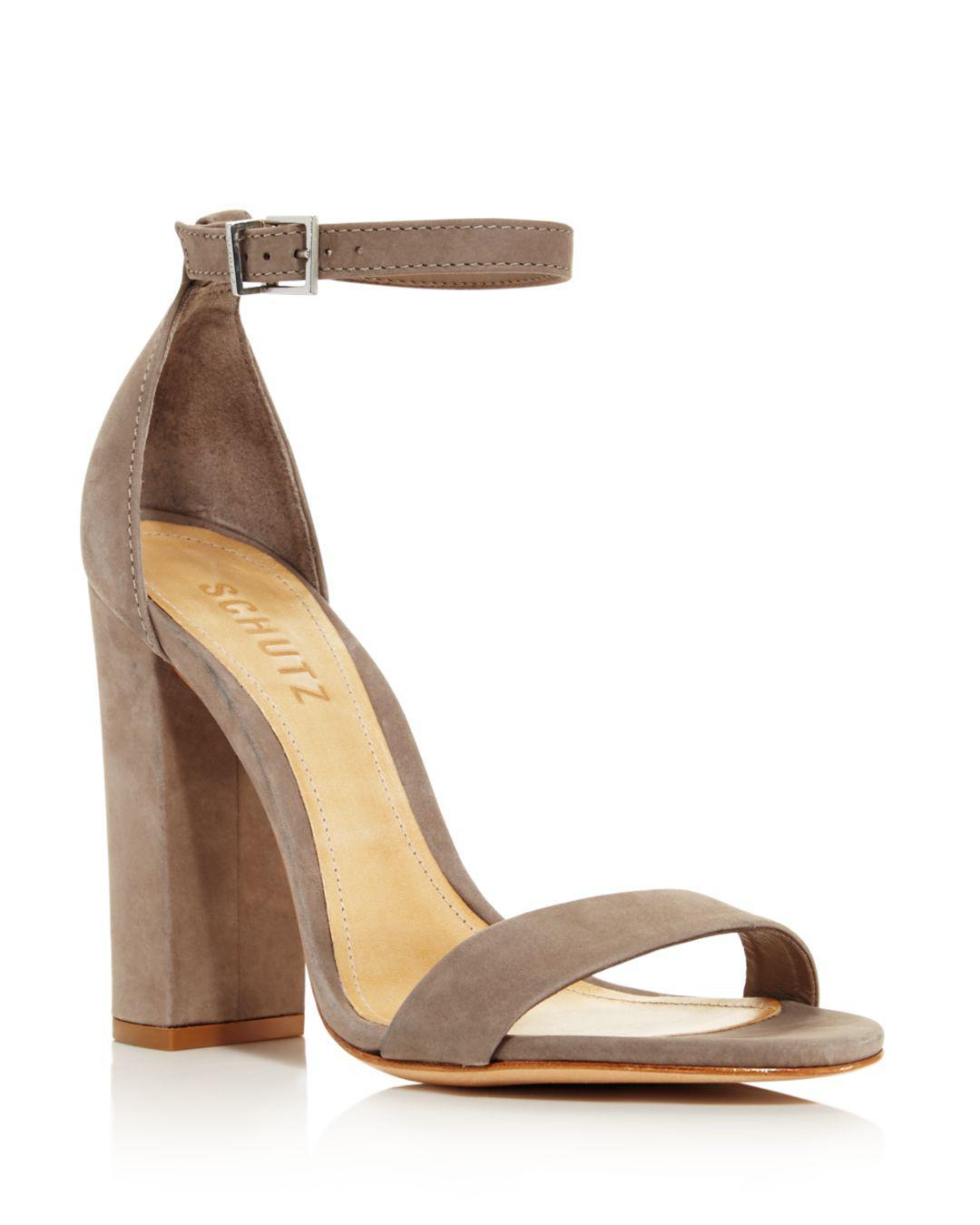 d757abc6b5e0 Lyst - Schutz Women s Enida Nubuck Leather High Block Heel Sandals