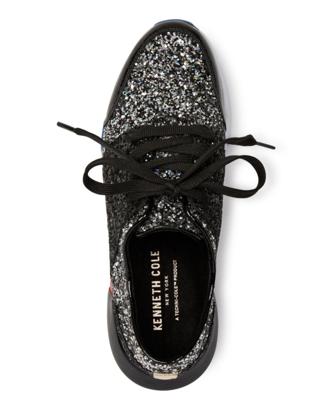 Kenneth Cole Women's Sumner Glitter Lace Up Sneakers in Black