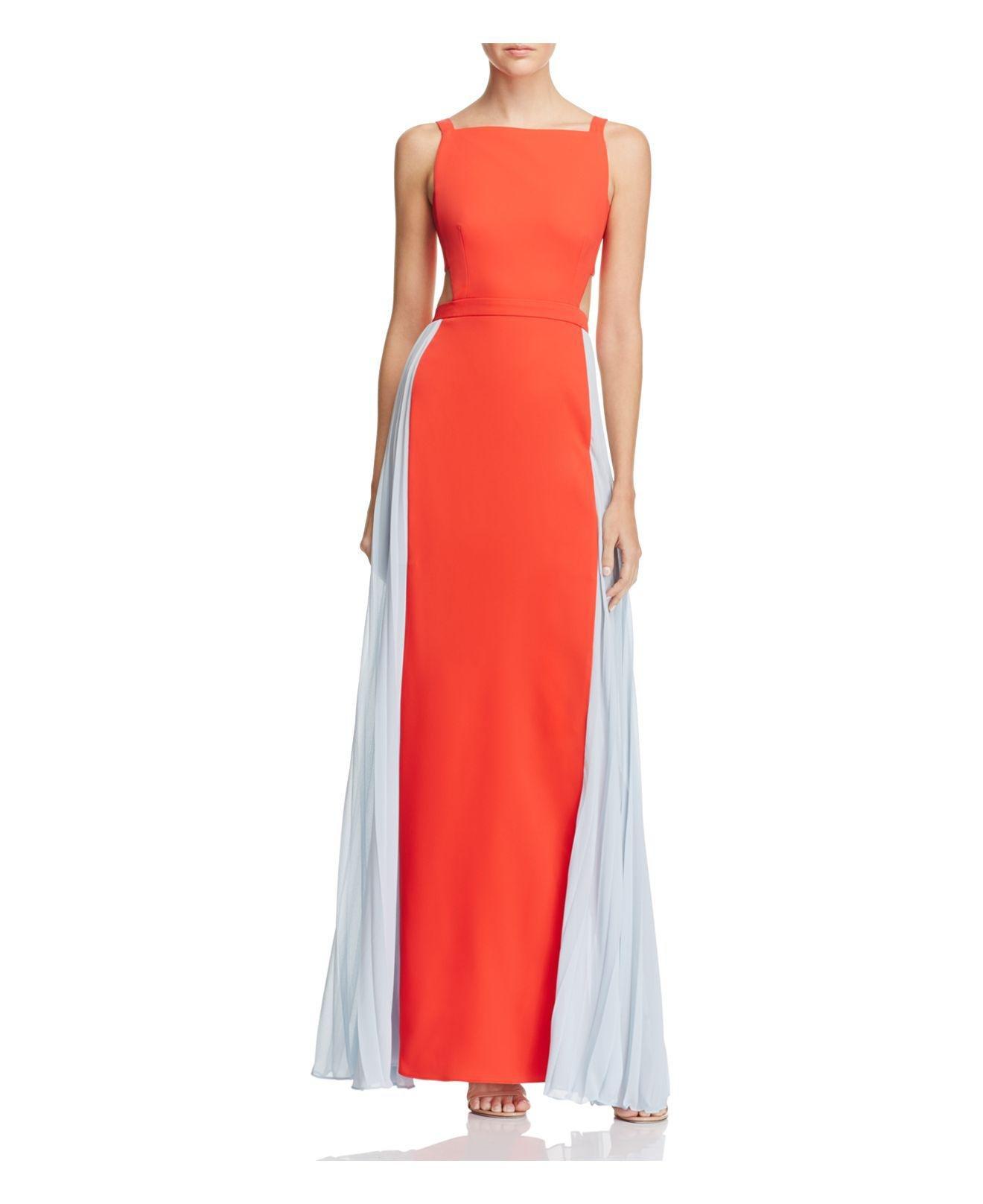 Bright orange color block dresses