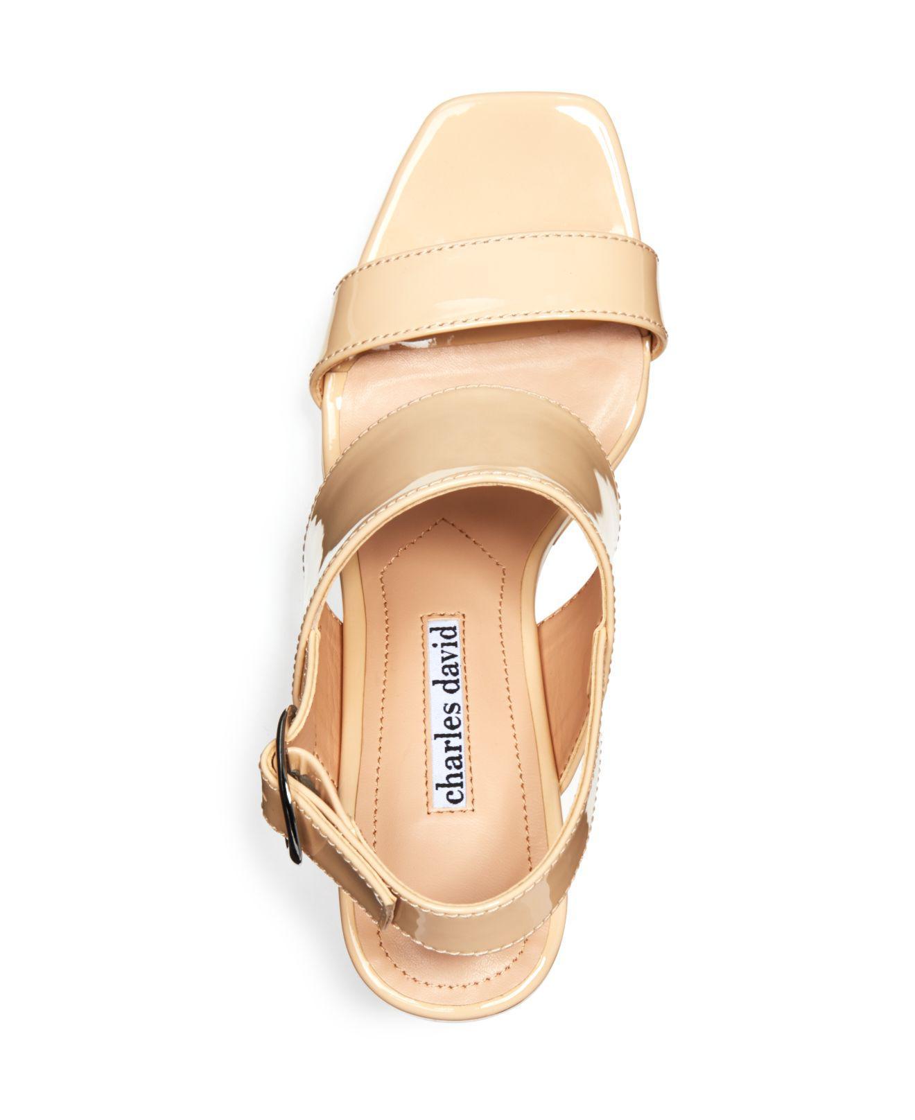 Charles David Jordan Patent Leather Wedge Platform Sandal TIJTZq30