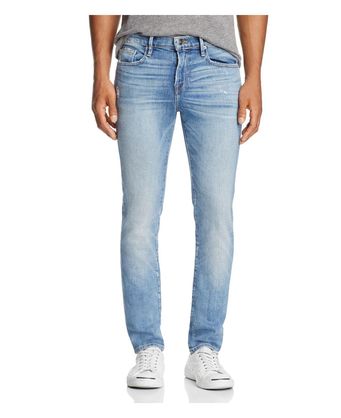 lyst frame l 39 homme skinny fit jeans in beaudry in blue for men. Black Bedroom Furniture Sets. Home Design Ideas