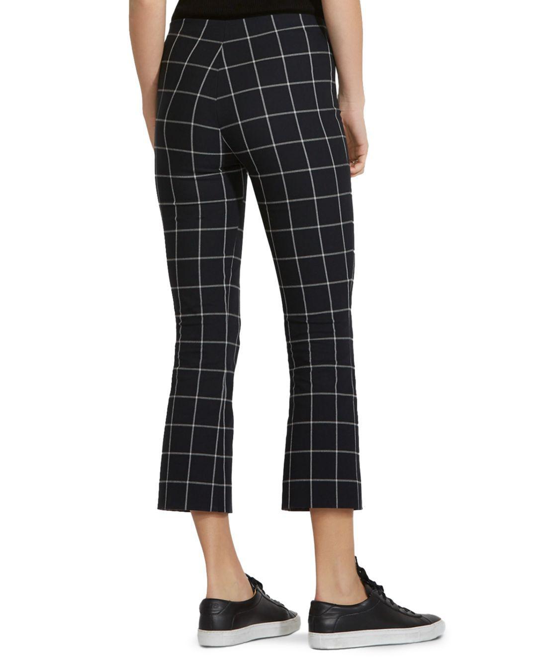 Bailey 44 Checked Cotton-blend Kick-flare Pants Black