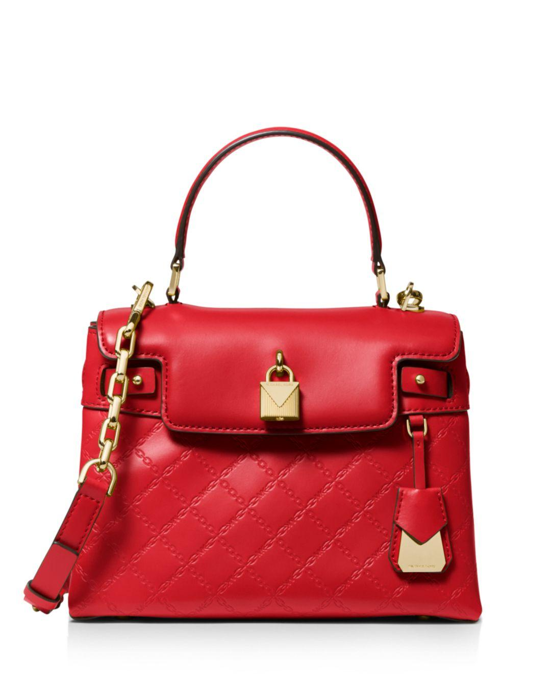 0cb5a1aba750 MICHAEL Michael Kors Medium Leather Satchel in Red - Lyst