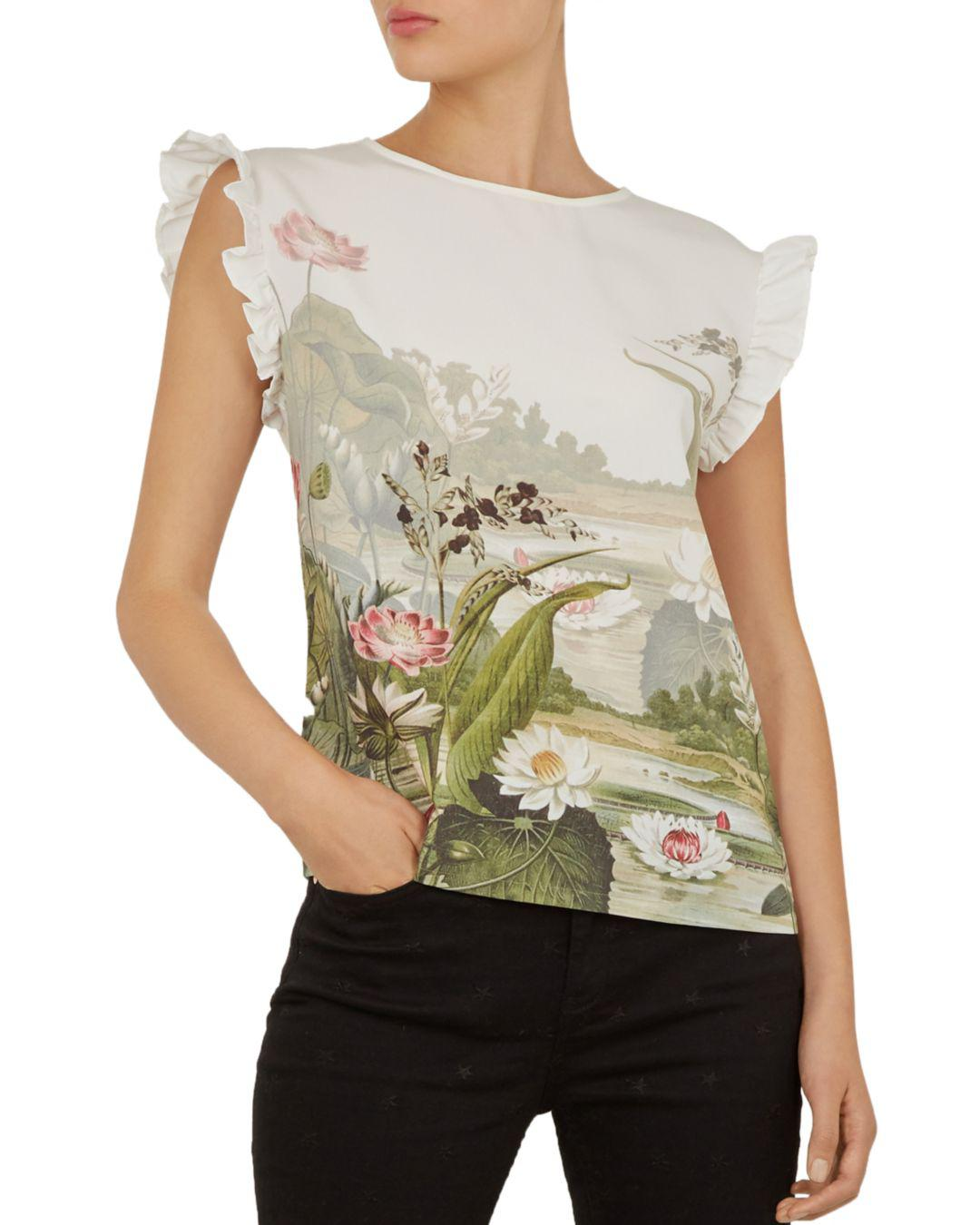 add5d02ca Lyst - Ted Baker Coorai Wonderland Woven-front Tee in White