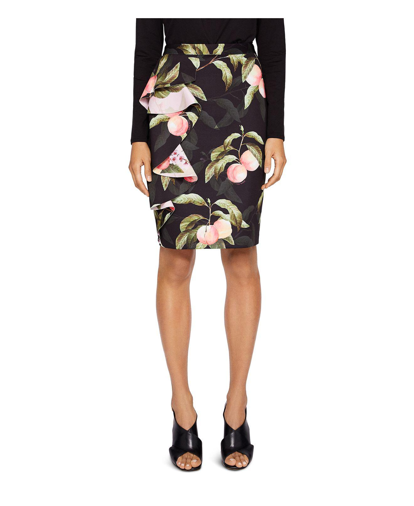 81b7ed1d2a Ted Baker Blayyke Peaches Ruffle Pencil Skirt in Black - Lyst
