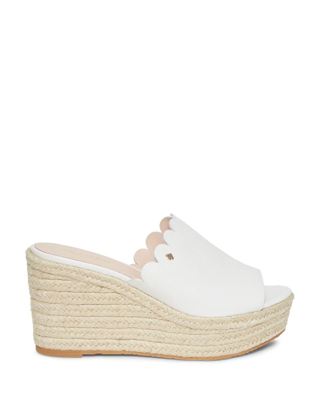 60fa0584ed Lyst - Kate Spade Tabby Leather Platform Espadrilles in White