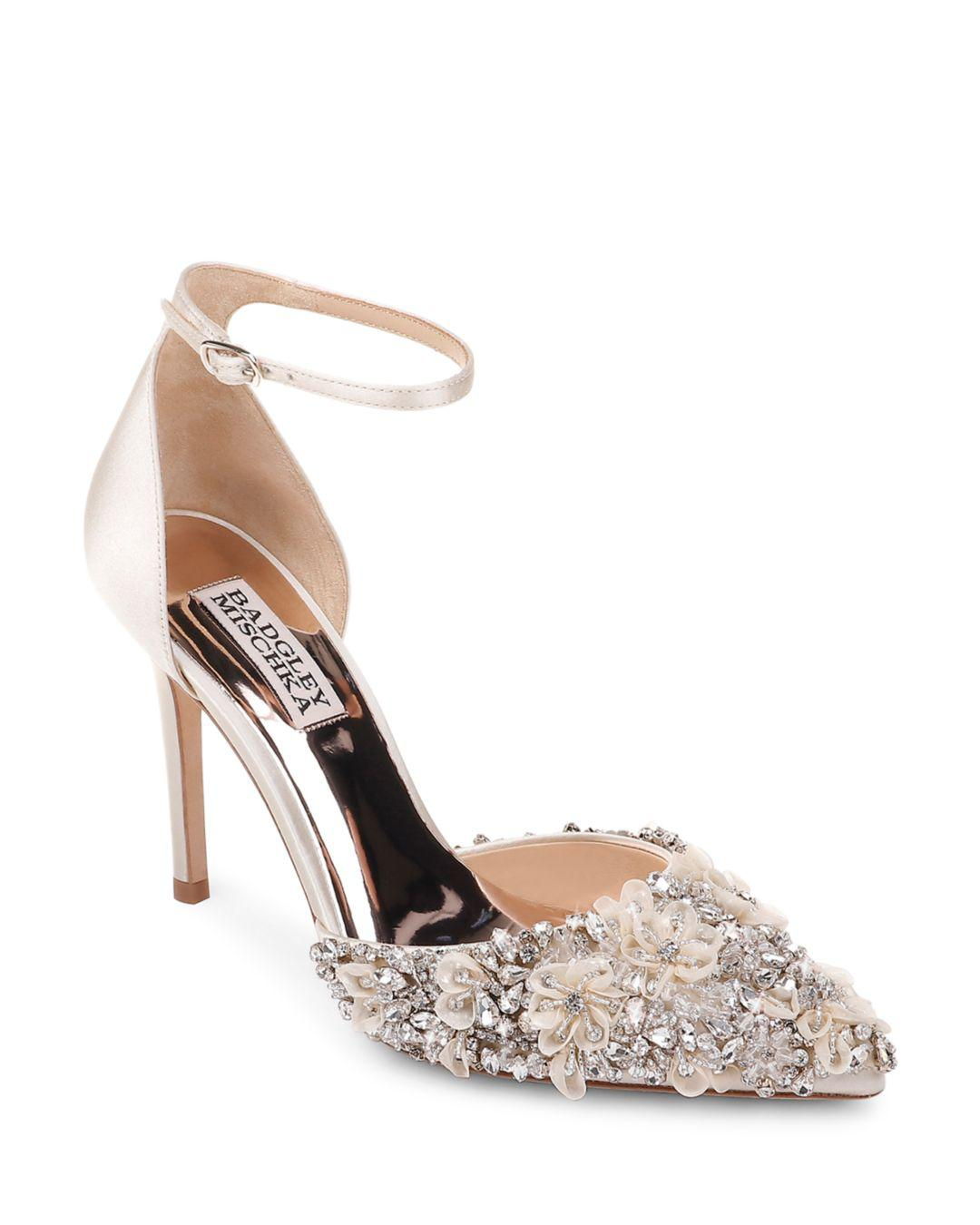 79ae6ec76a3 Lyst - Badgley Mischka Women s Fey Embellished Satin Pumps in White