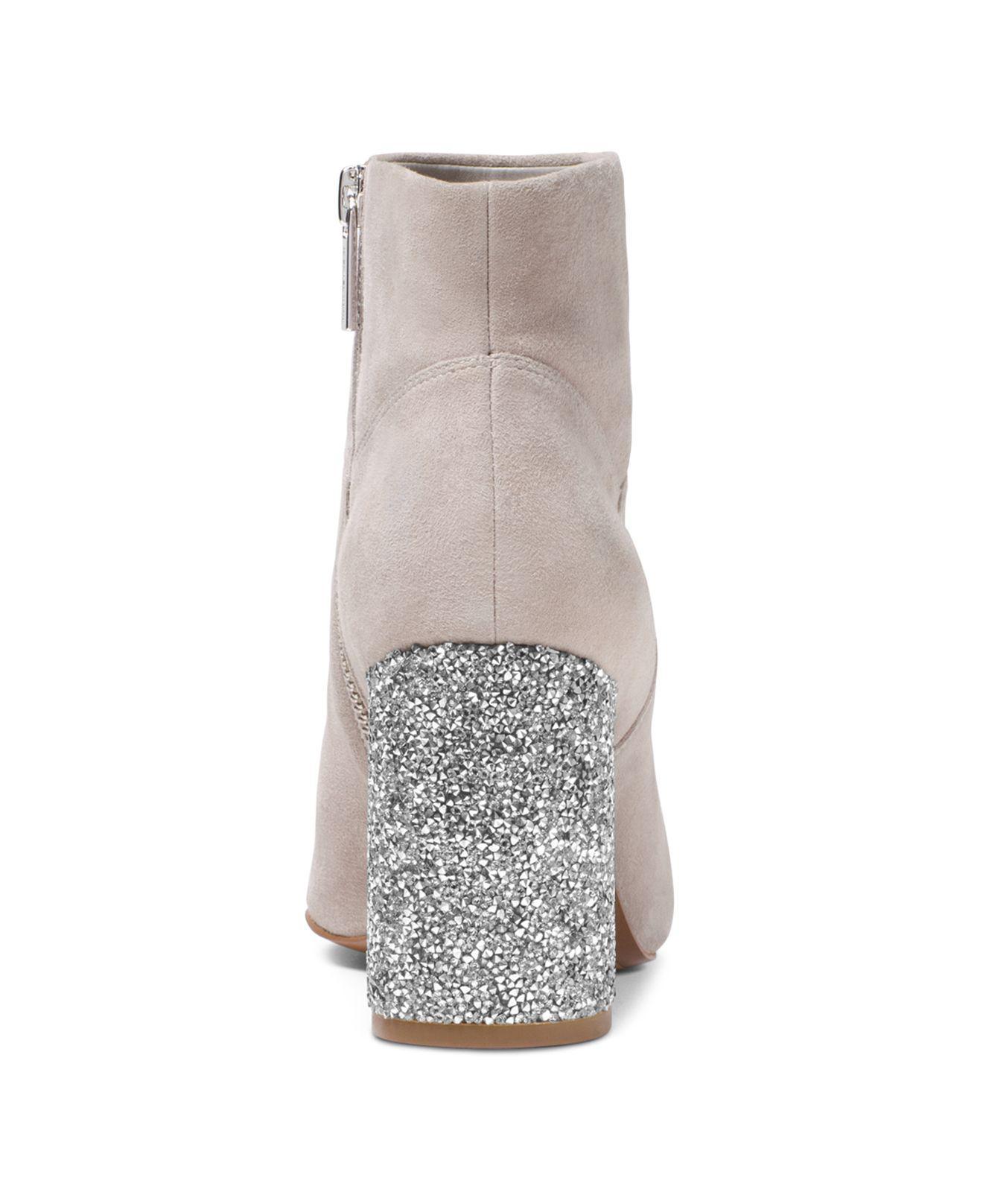 MICHAEL Michael Kors Women's Cher Suede Booties in Pearl Gray (Grey)