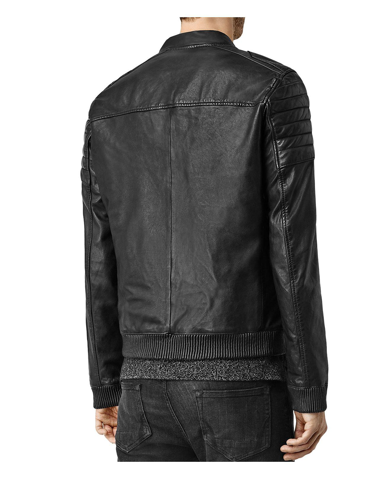 6a5cc12cb AllSaints Black Sanderson Leather Regular Fit Moto Bomber Jacket for men