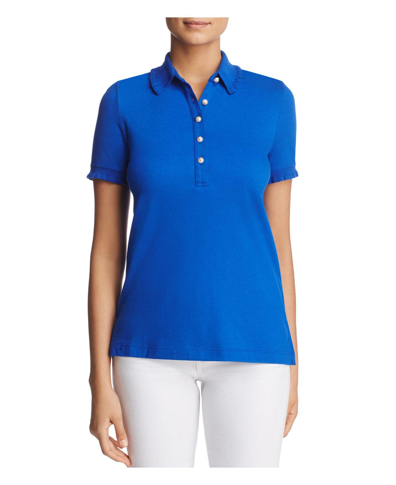 Lyst Tory Burch Lacey Polo Shirt In Blue