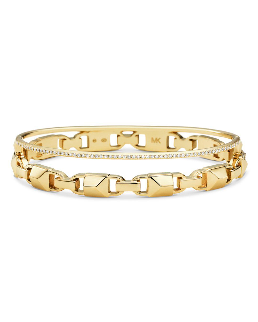 d702a5a6abdf Lyst - Michael Kors Pavé Link Hinge Bangle Bracelet in Metallic