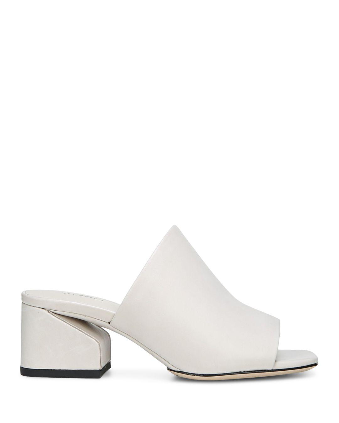 28ddf135c978 Via Spiga Women s Porter Leather Block Heel Slide Sandals in White ...