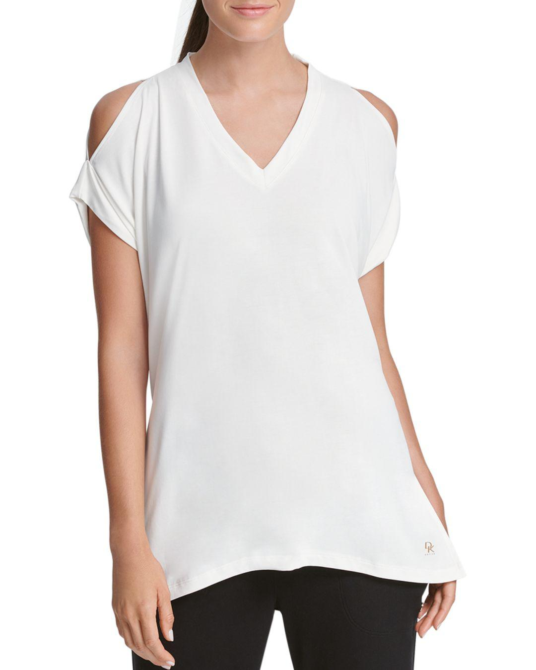 5f714cfdd2146e Donna Karan New York Relaxed Cold-shoulder Tee in White - Lyst