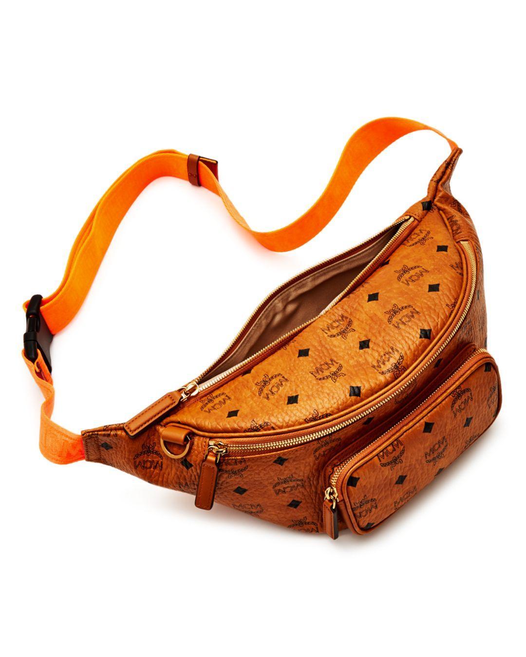 429c97c57f0 Lyst - MCM Men s Medium Fursten Visetos Belt Bag in Orange for Men
