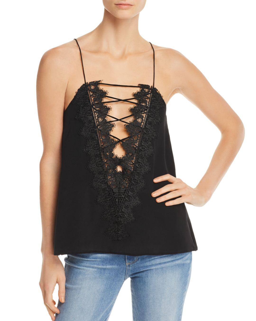 4cc6451f19f0b Lyst - Cami NYC Charlie Reversible Lace-up Silk Top in Black - Save 55%