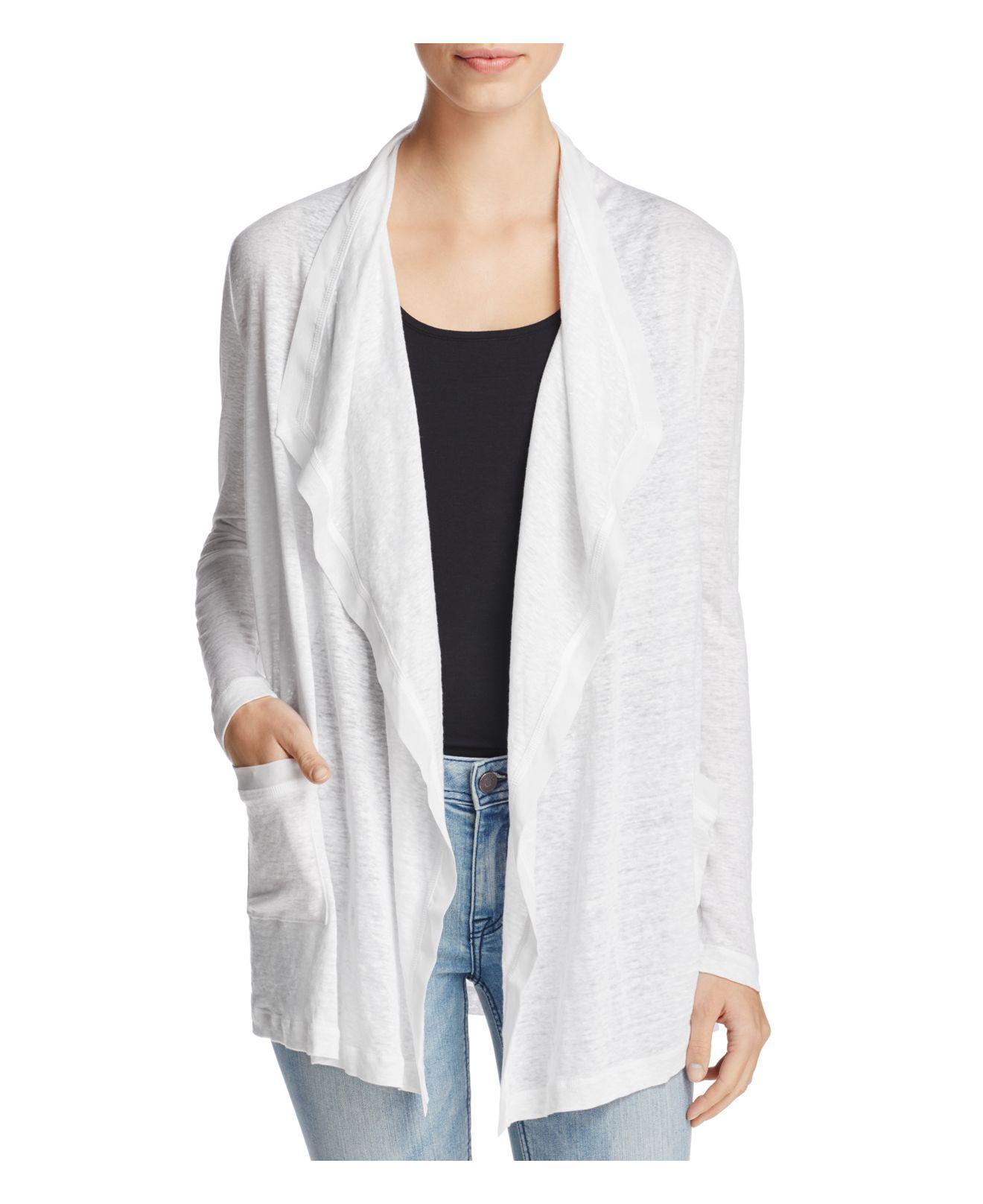 Three dots Open Front Waterfall Cardigan in White | Lyst