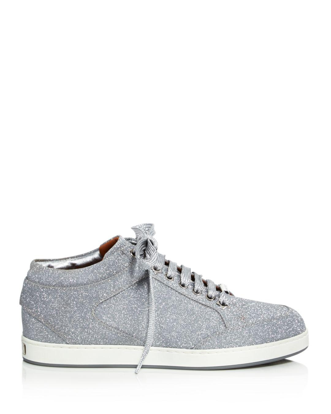 09873e15adc9 Lyst - Jimmy Choo Women's Miami Glitter Leather Low Top Lace Up Sneakers in  Metallic