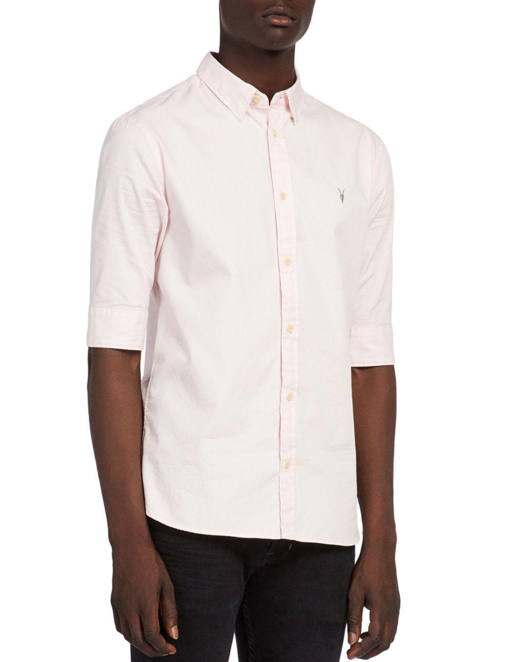 AllSaints Cotton Redondo Half-sleeved Shirt in Pale Pink (Pink) for Men