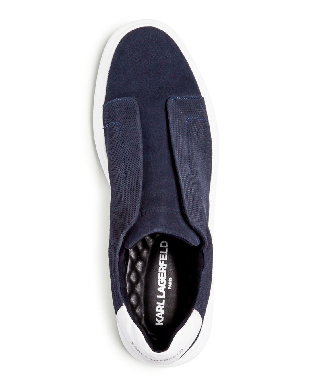 c3e05273be Lyst - Karl Lagerfeld Men s Suede Slip-on Sneakers in Blue for Men