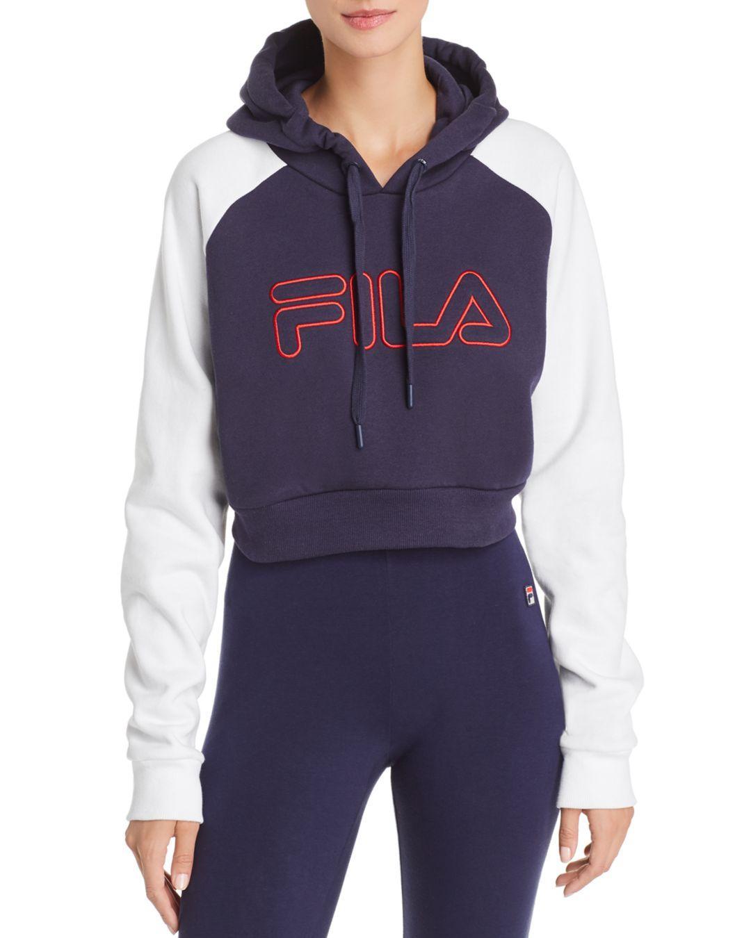 6120d4916f Fila Valeria Cropped Hooded Sweatshirt in Blue - Lyst