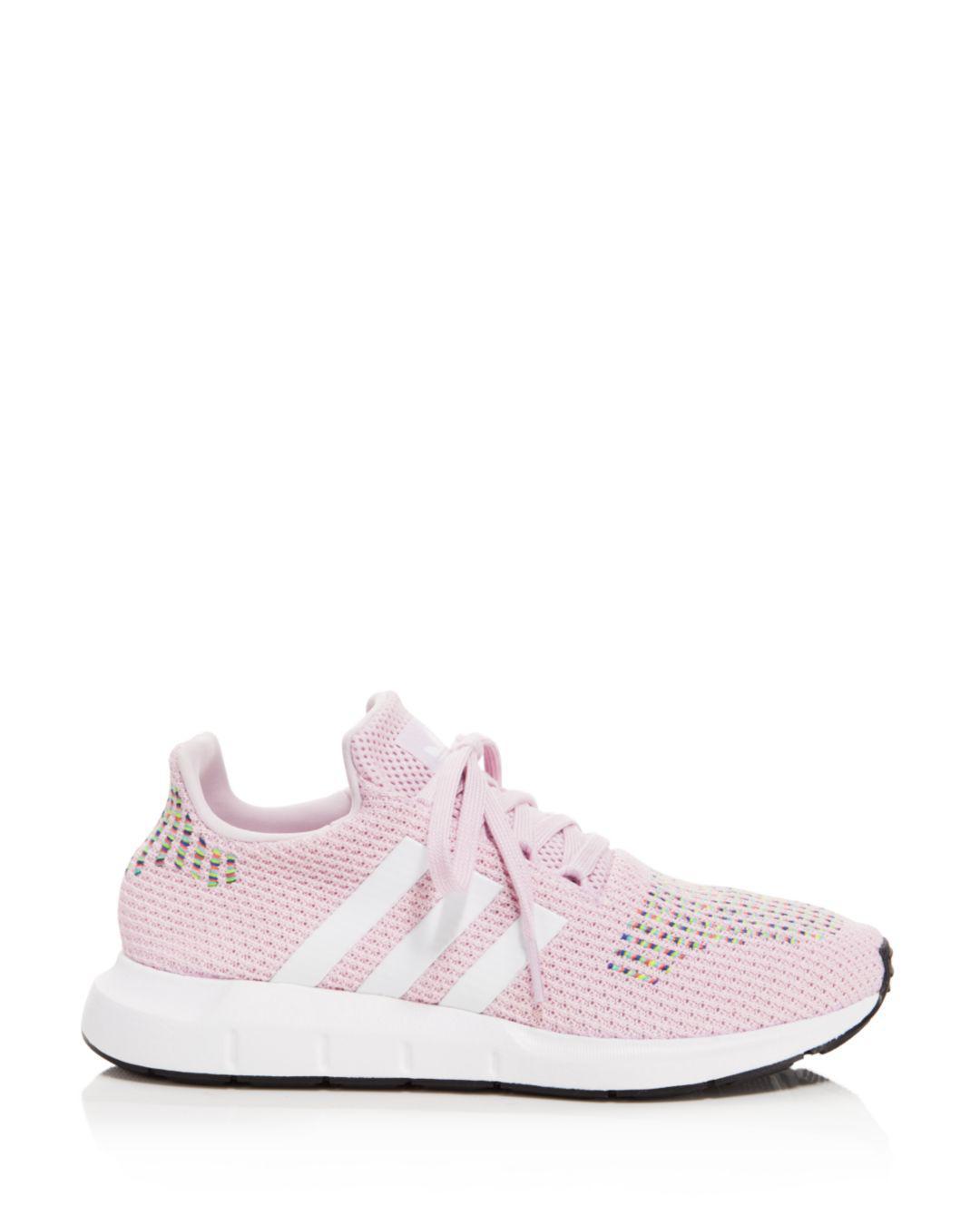 d761f9ebbbe Adidas Women s Swift Run Knit Lace Up Sneakers in Pink - Lyst