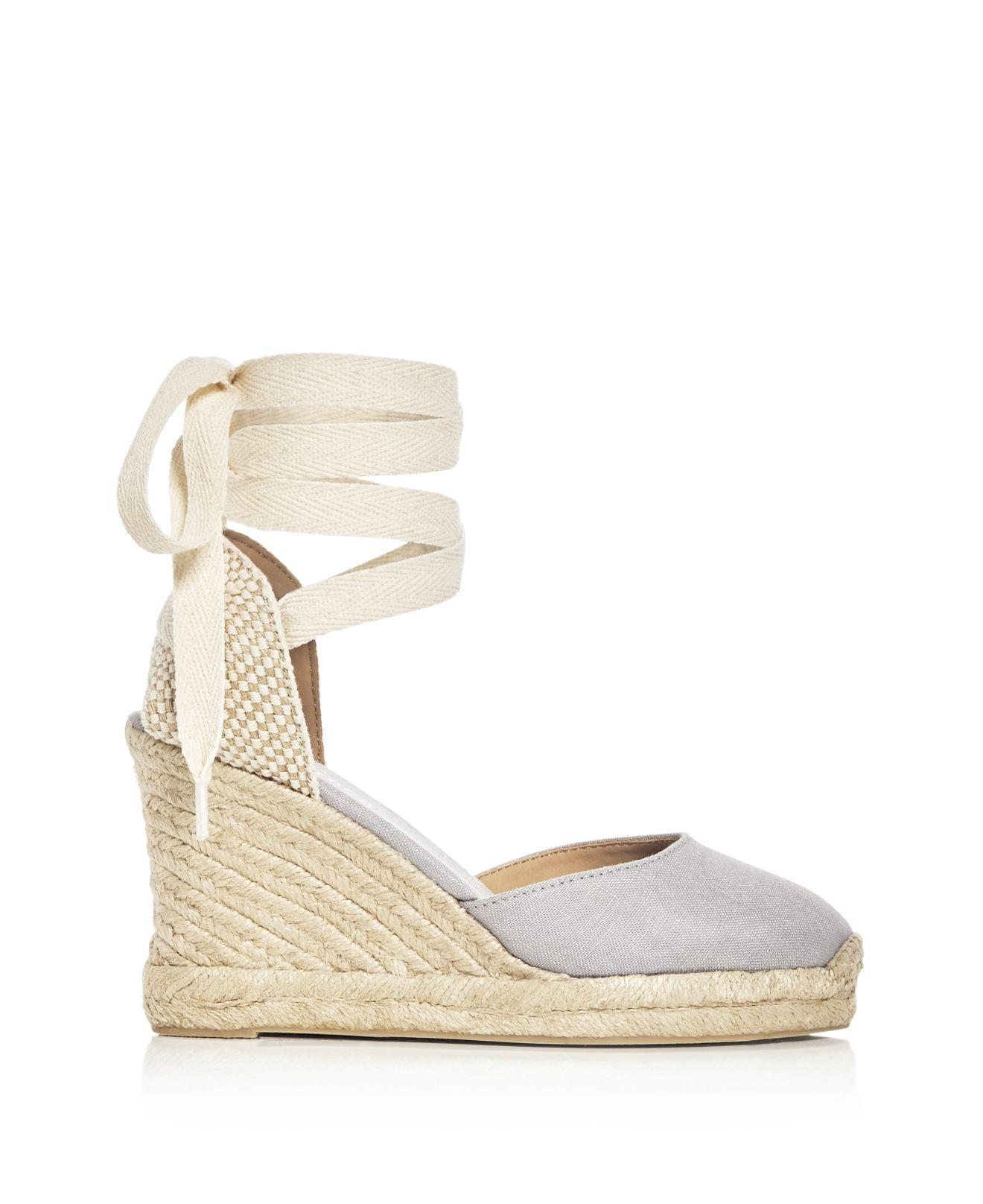 e88b25ce761 Soludos Gray Women's Lace Up Espadrille Wedge Sandals