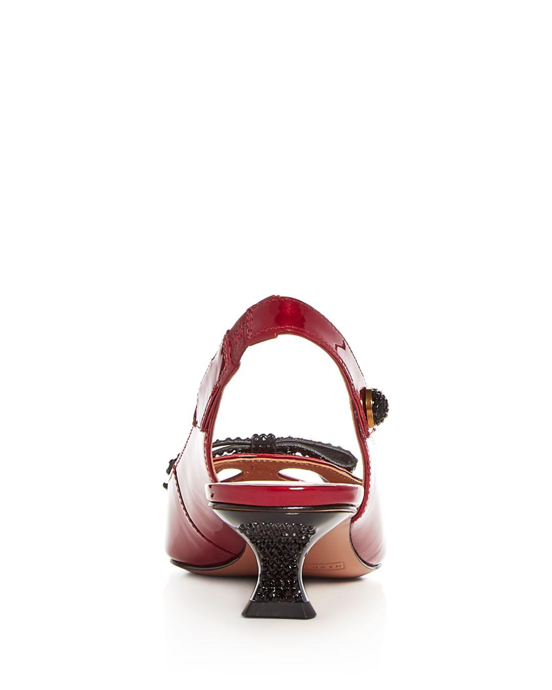 23de7b9c330 Lyst - Marc Jacobs Women s Abbey Patent Leather Slingback Pumps in Red