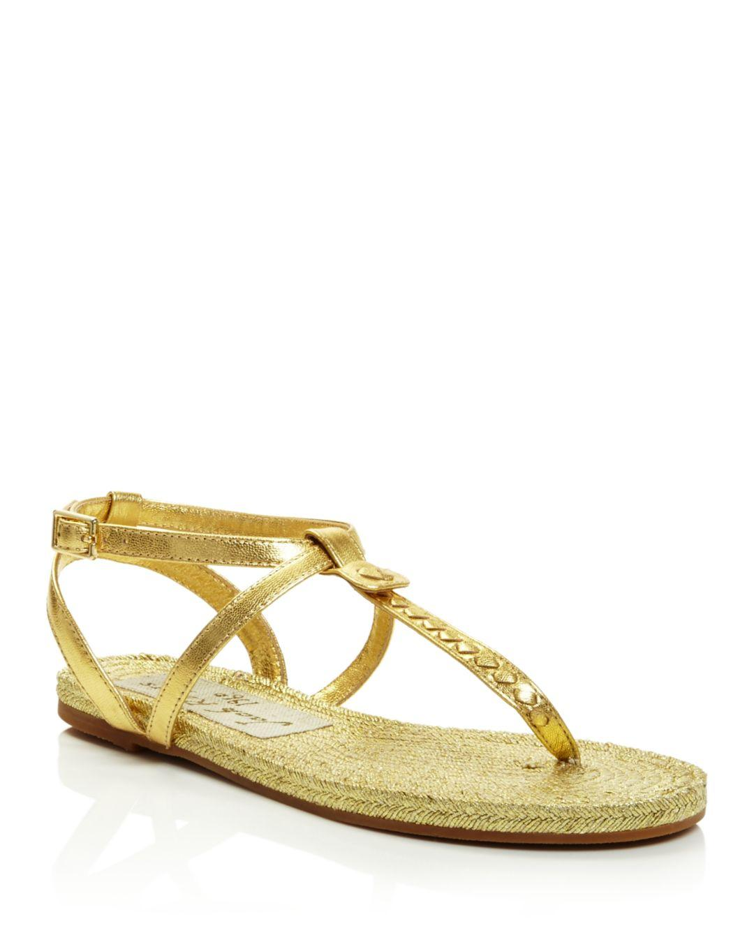 76ee49db1 Lyst - Jack Rogers Women s Evie Leather Flat Thong Sandals in Metallic