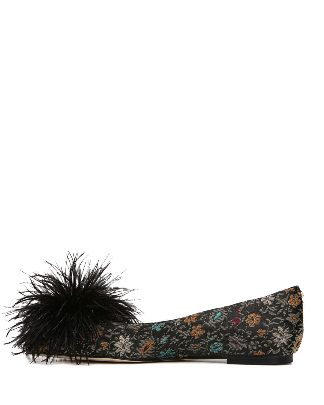 290610d95 Lyst - Sam Edelman Women s Reina Jacquard   Feather Pom-pom Flats in ...