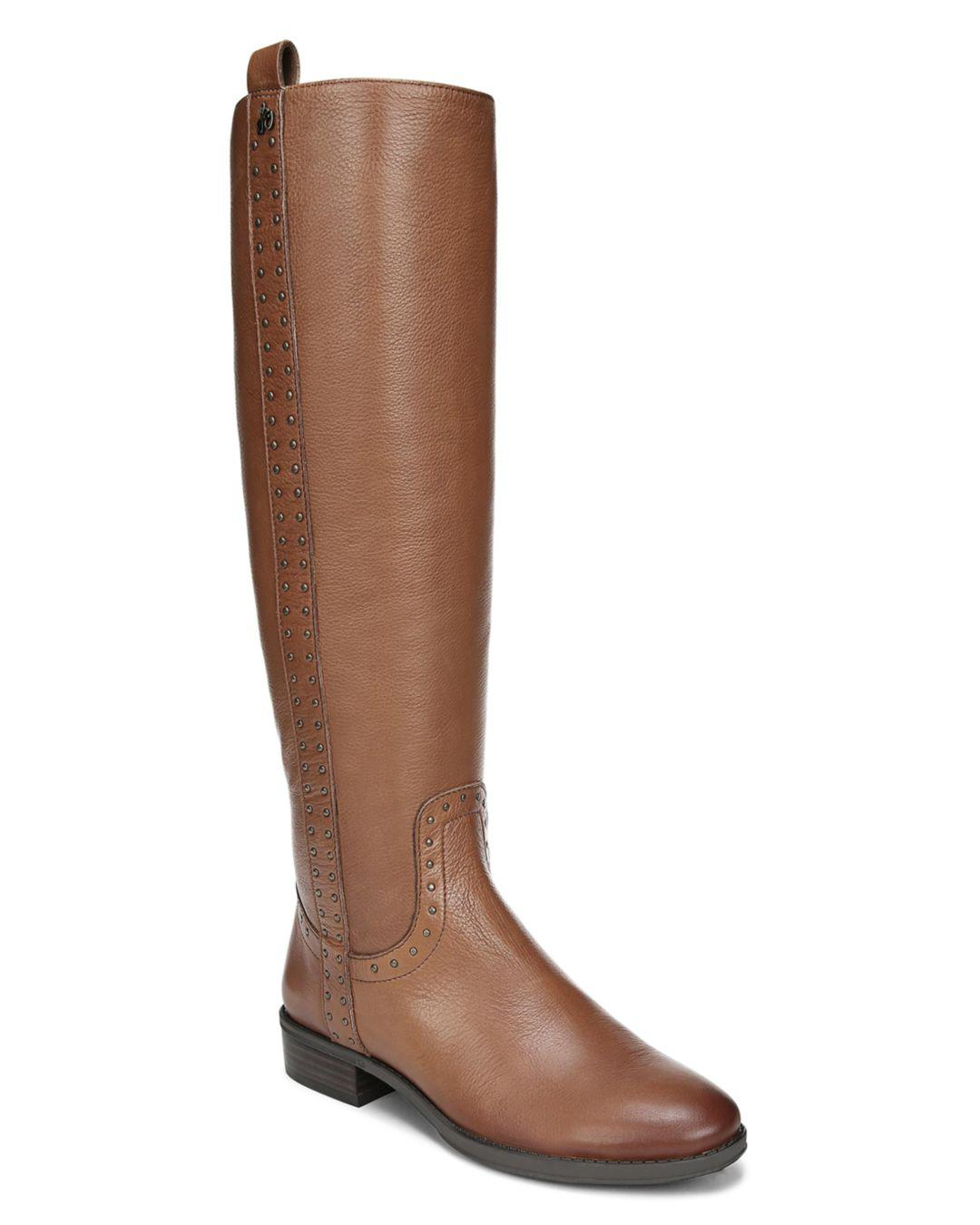 140c16bc94ee83 Sam Edelman Women s Prina Round Toe Tall Leather Boots in Brown - Lyst