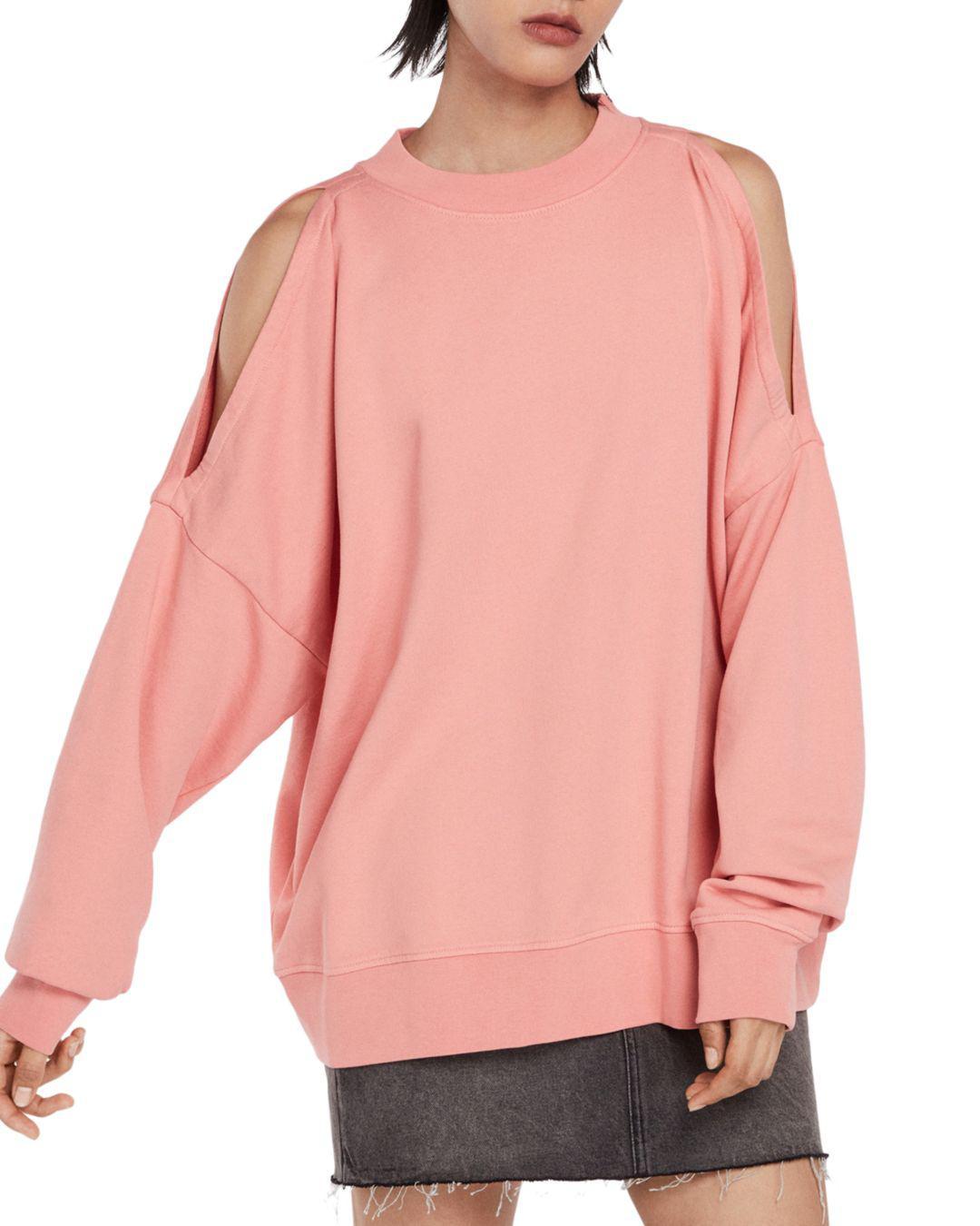 fdb23da18c738 AllSaints - Pink Unai Oversized Cold-shoulder Sweatshirt - Lyst. View  fullscreen