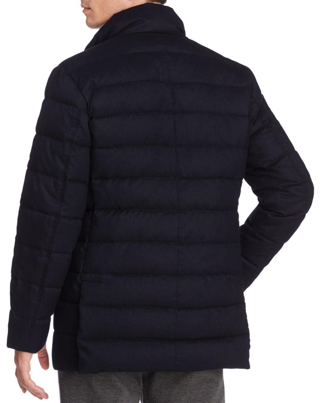 Cole Haan Flannel Down Jacket in Navy (Blue) for Men