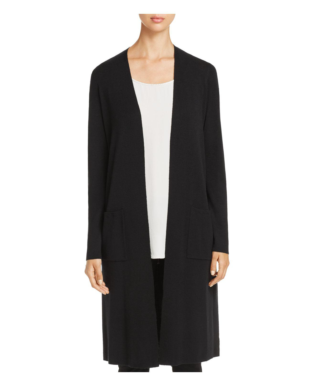 Eileen fisher Merino Wool Duster Cardigan in Black | Lyst