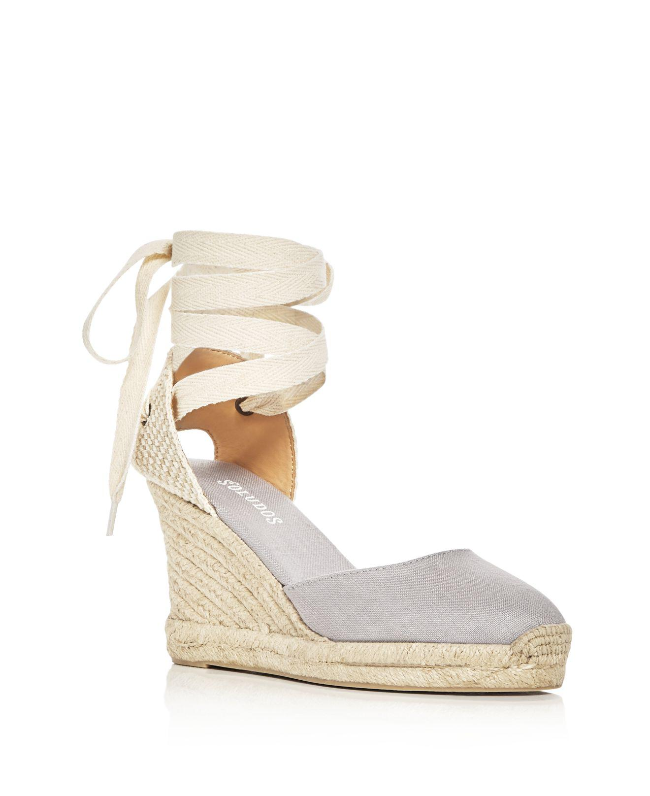 13d1cb63c6a Soludos Women s Lace Up Espadrille Wedge Sandals in Gray - Lyst