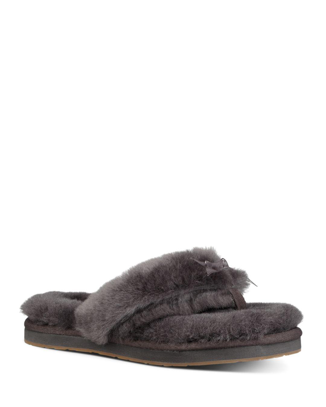 f4fa7f509f3 Lyst - UGG Women s Fluff Sheepskin Flip-flops in Gray